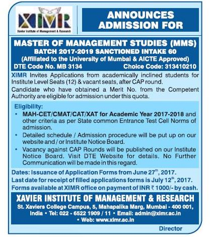 XIMR(MUMBAI) ADMISSION FOR MMS
