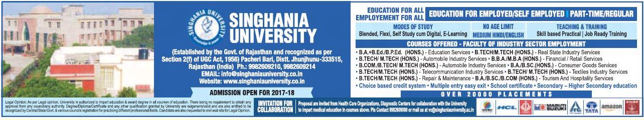 SINGHANIA UNIVERSITY ADMISSION FOR BCOM,BTECH