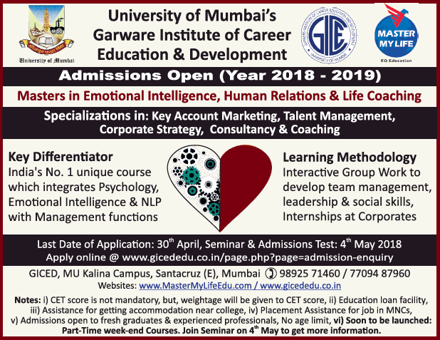 Admissions open For Garware Institute Of Career Education And Development Mumbai