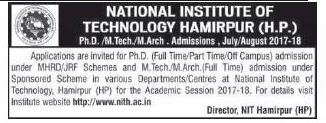 NIT(HAMIRPUR) ADMISSION FOR PHD