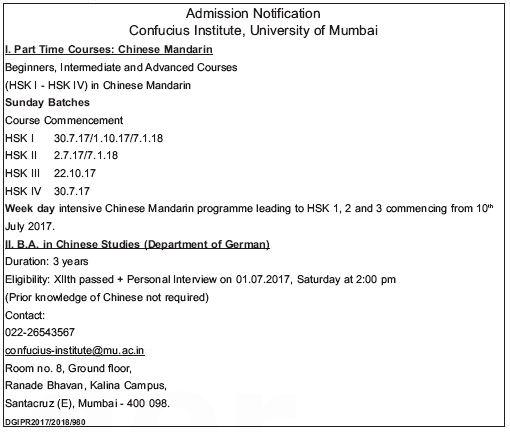 CONFUCIUS INSTITUTE (CHINESE MANDARIN) ADMISSION
