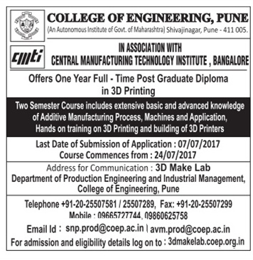 COE(PUNE) ADMISSION FOR PGD-ERP,3D-PRINTING