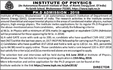Institute Of Physics, Bhubaneswar Admissions Open