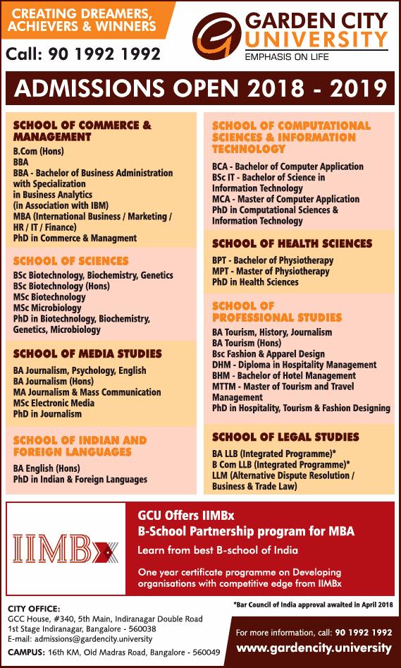 Garden City University admissions open Apply Online