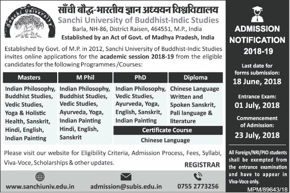 Sanchi University for Buddhist-Indic Studies Apply Online For Admissions