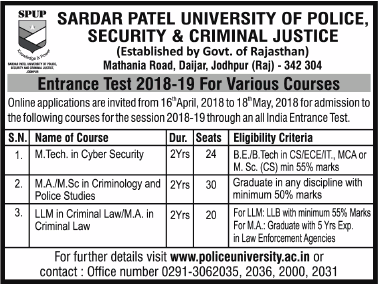 Sardar Patel University of Police Security and Criminal Justice