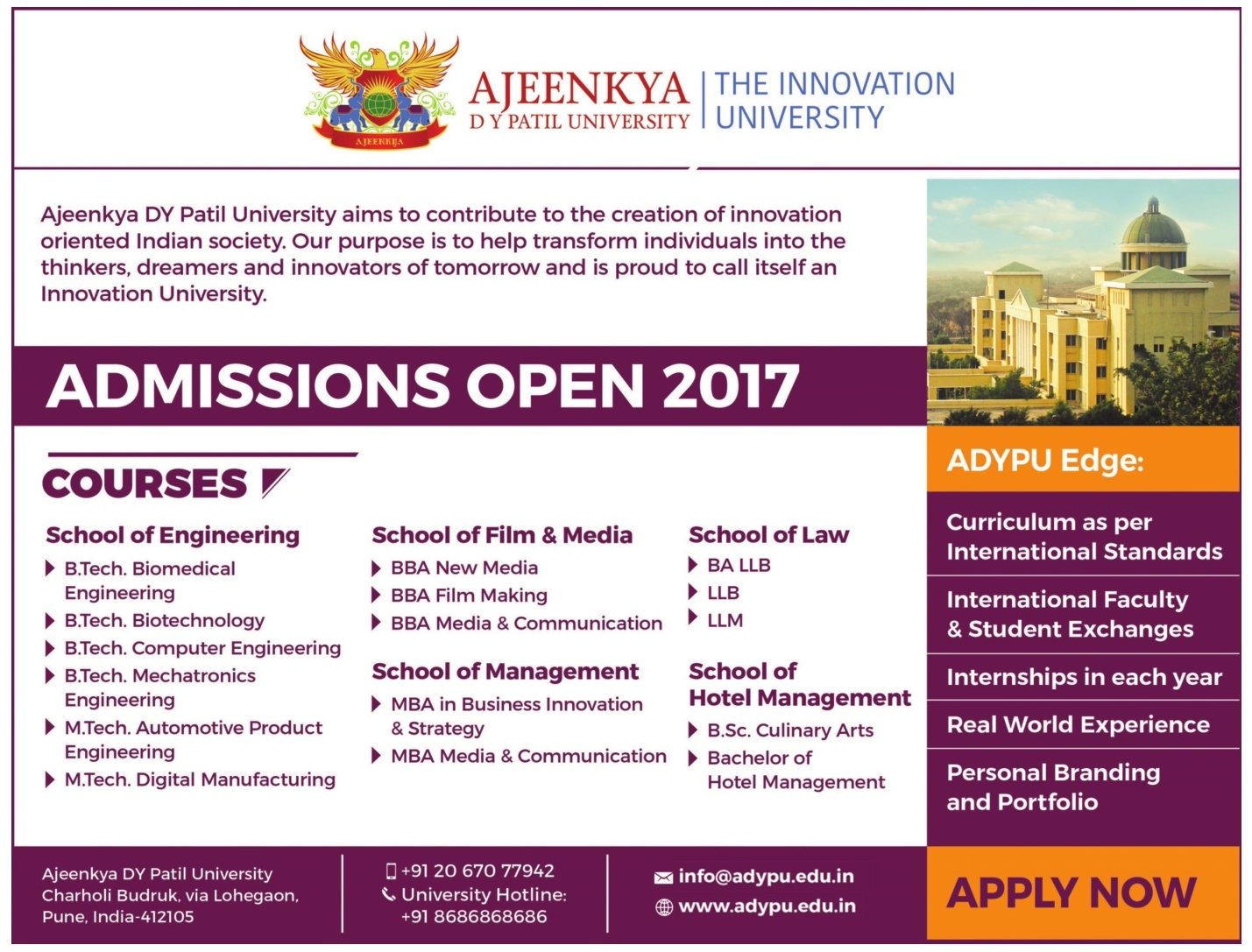 ADYPU (PUNE) ADMISSION FOR UG/PG COURSES