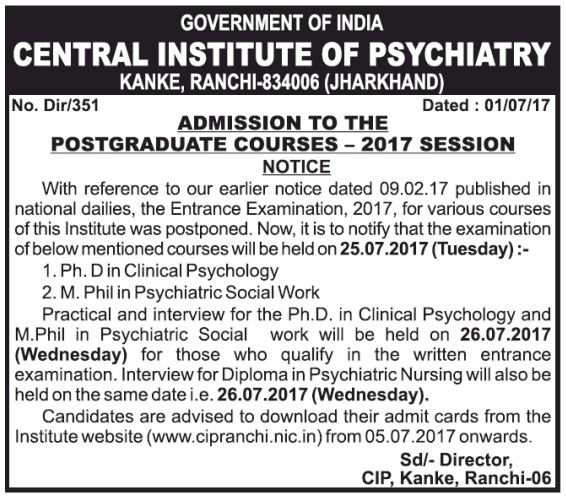 Central Institute of Psychiatry, Ranchi admission for ph.d,m.phil
