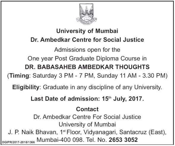 Mumbai university admission for PGD-(Dr. Babasaheb Ambedkar Thoughts)