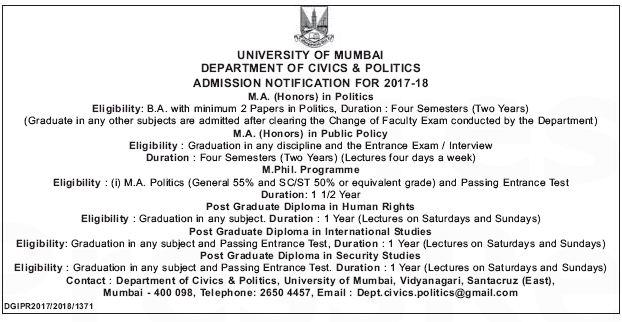 MUMBAI UNIVERSITY ADMISSION FOR MA,MPHIL,PGD