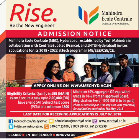 MAHINDRA ECOLE  CENTRALE ADMISSIONS OPEN APPLY ONLINE