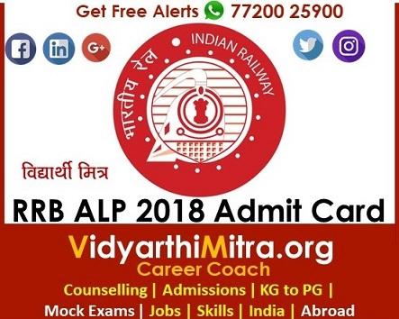 RRB Group C ALP, Technician Admit Card 2018